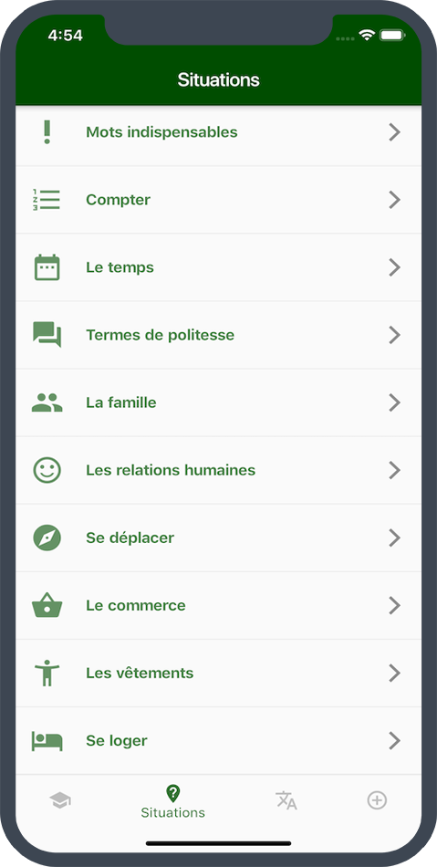 Slider écran smartphone - application antisèche malagasy