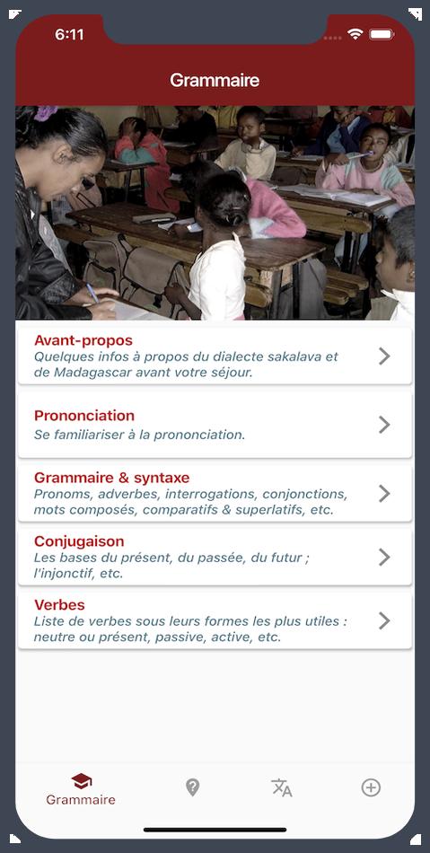 Slider écran smartphone - application je parle sakalava