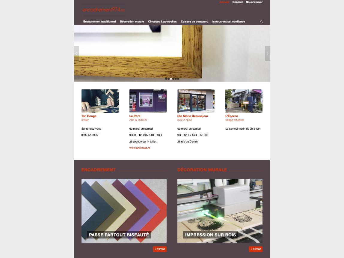 page d'accueil du site encadrement974